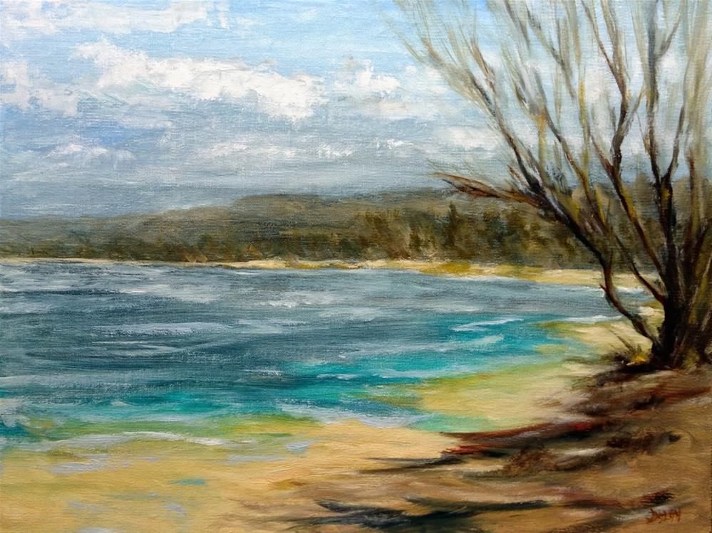 """North Shore Oahu Tree Shaded Beach"" original fine art by Dalan Wells"