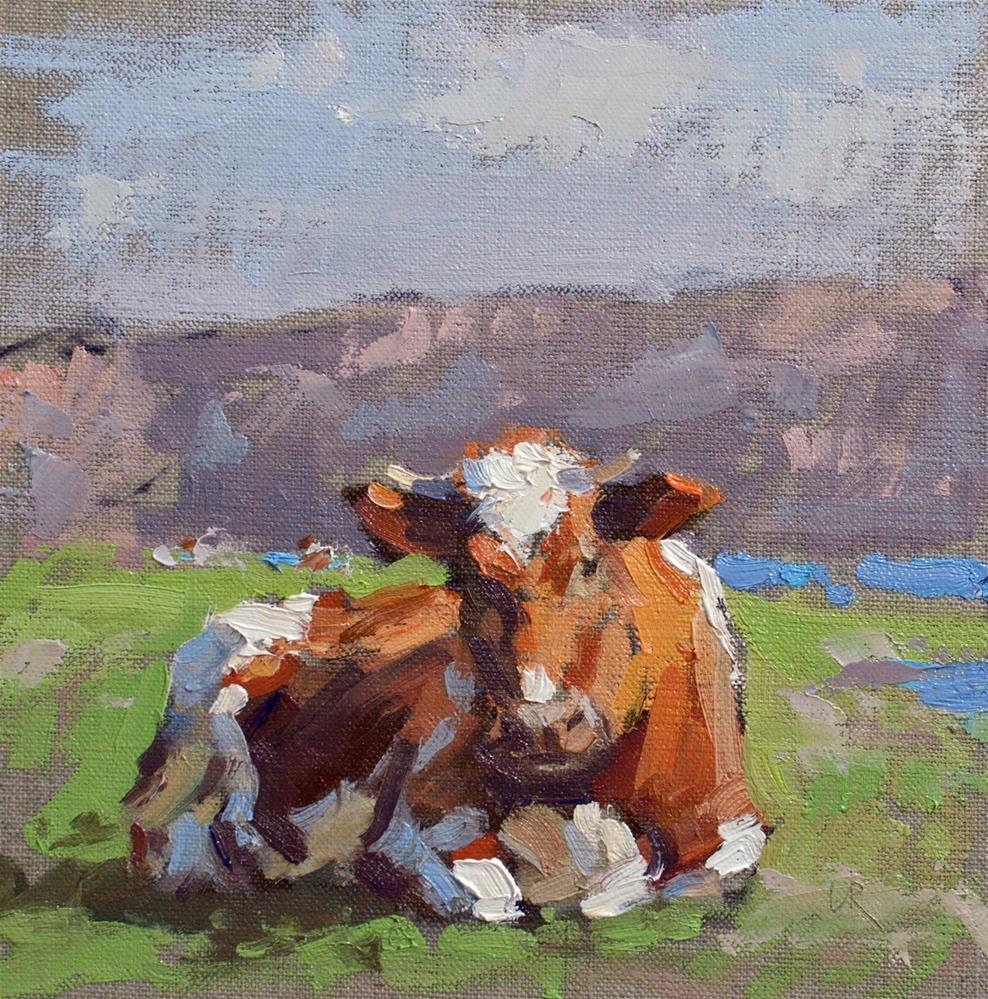 """""""Cornish Cow"""" original fine art by Lena  Rivo"""