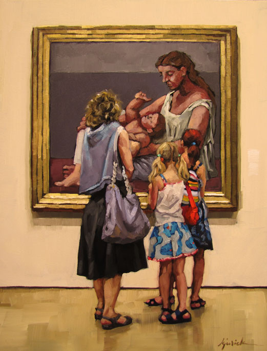 """Four Women and a Baby"" original fine art by Karin Jurick"