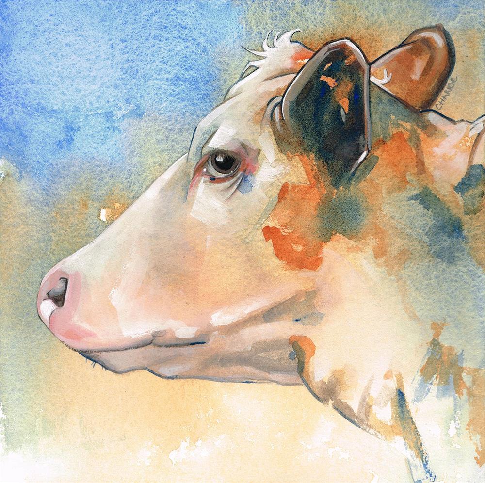 """No. 4 Cow"" original fine art by Annabel Chance"