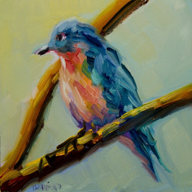"""ARTOUTWEST Diane Whitehead Original Oil Painting Blue Bird"" original fine art by Diane Whitehead"