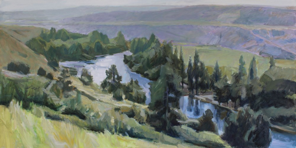 """Bend in the Yakima River"" original fine art by Gretchen Hancock"