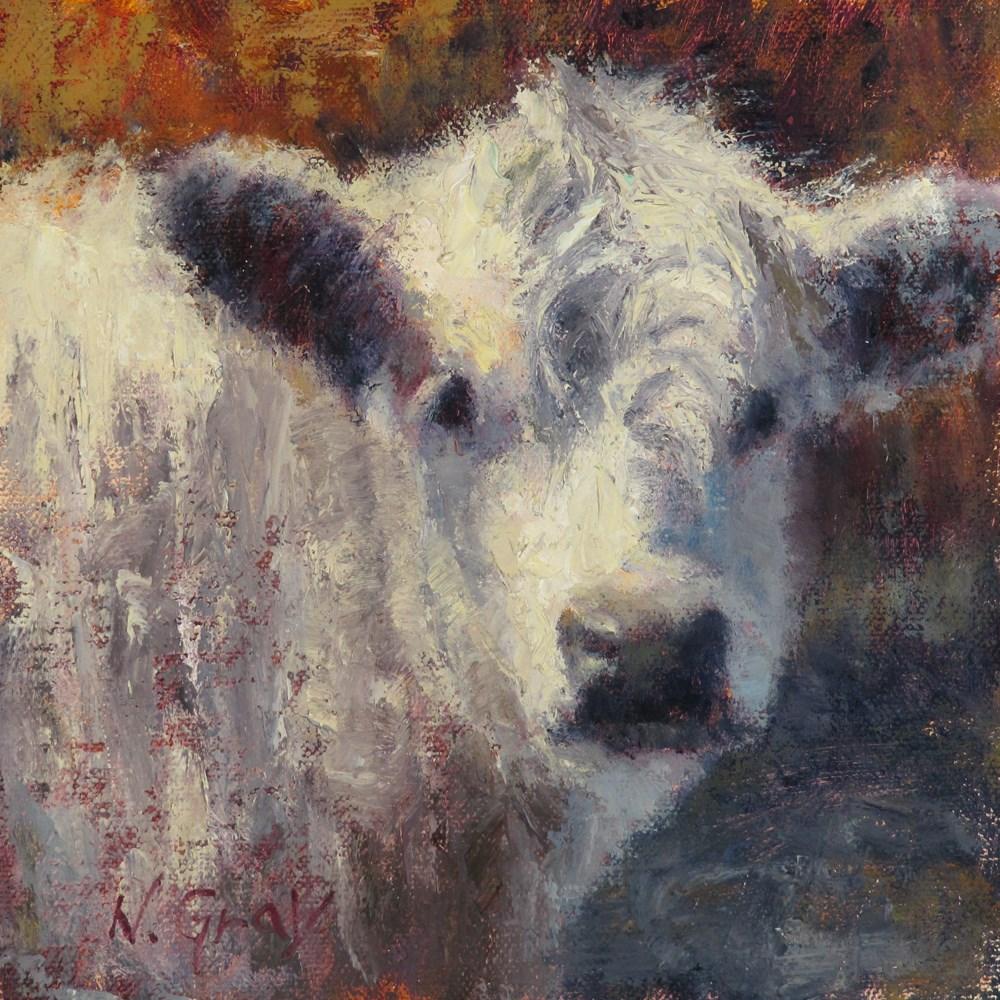"""Snow Cow"" original fine art by Naomi Gray"