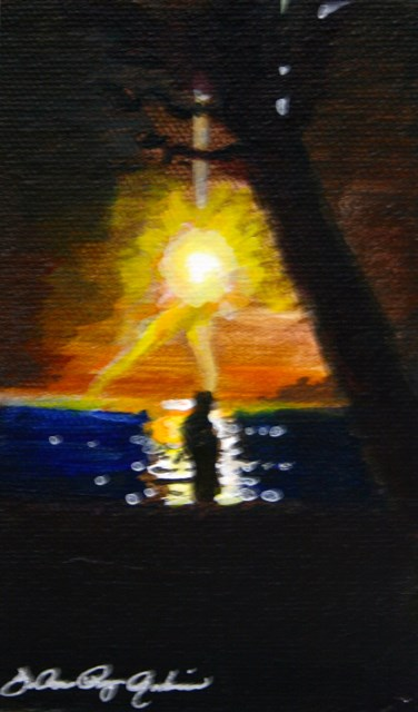 """Walking at Sunset"" original fine art by JoAnne Perez Robinson"