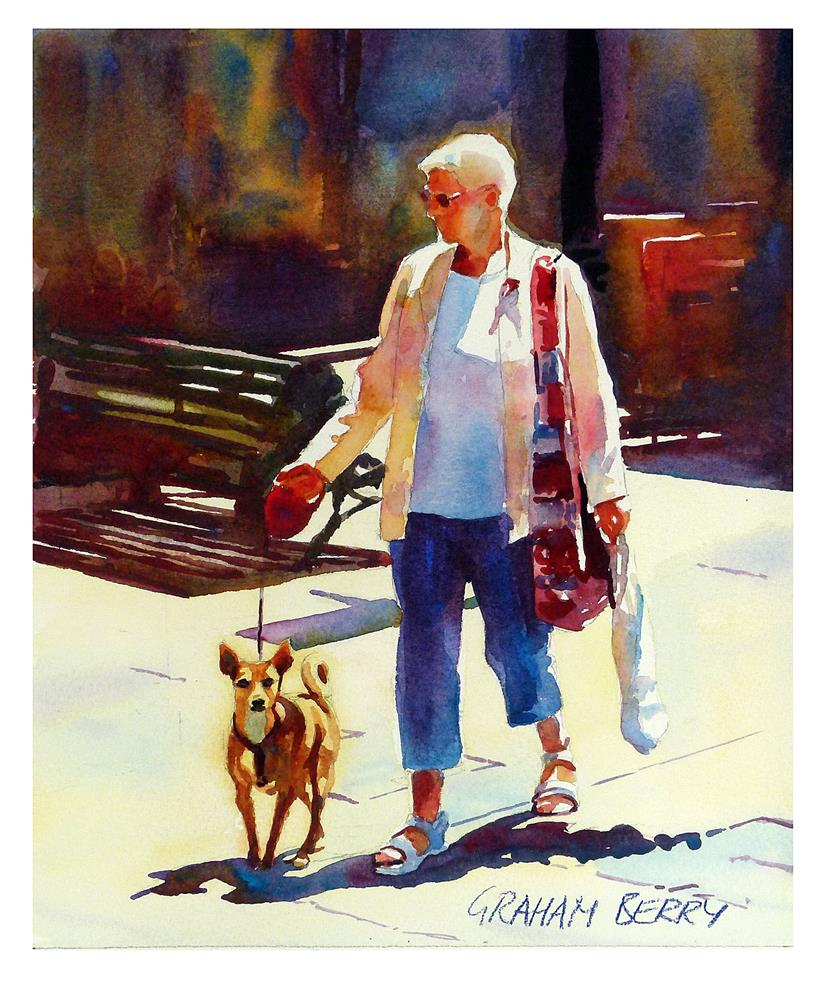 """Walking with dog."" original fine art by Graham Berry"