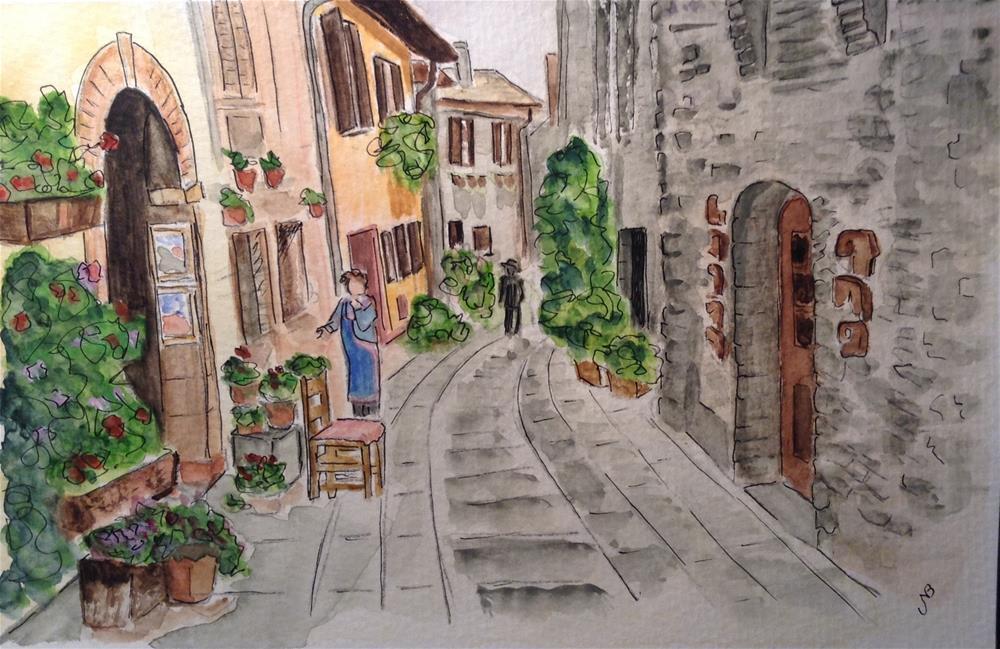 """""""Quaint Village Street Watercolor 6 x 9"""" original fine art by Nancy Beard"""