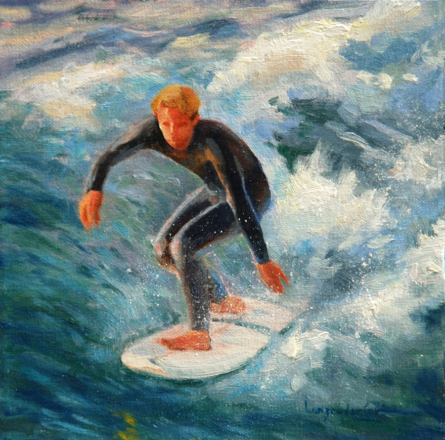 """RIDING THE WAVE"" original fine art by Dj Lanzendorfer"