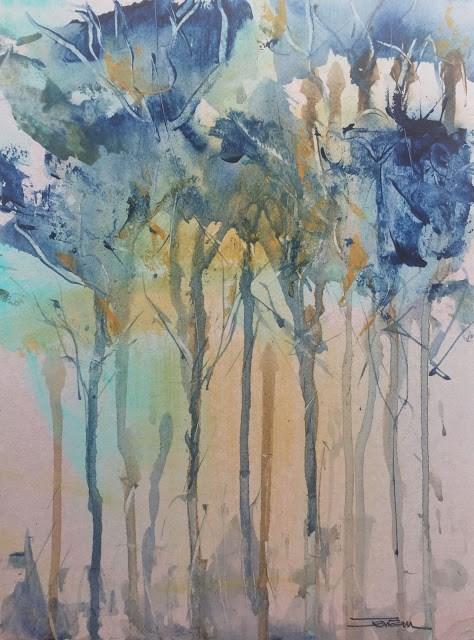 """""""BLUE FOREST"""" original fine art by Ferran Llagostera"""