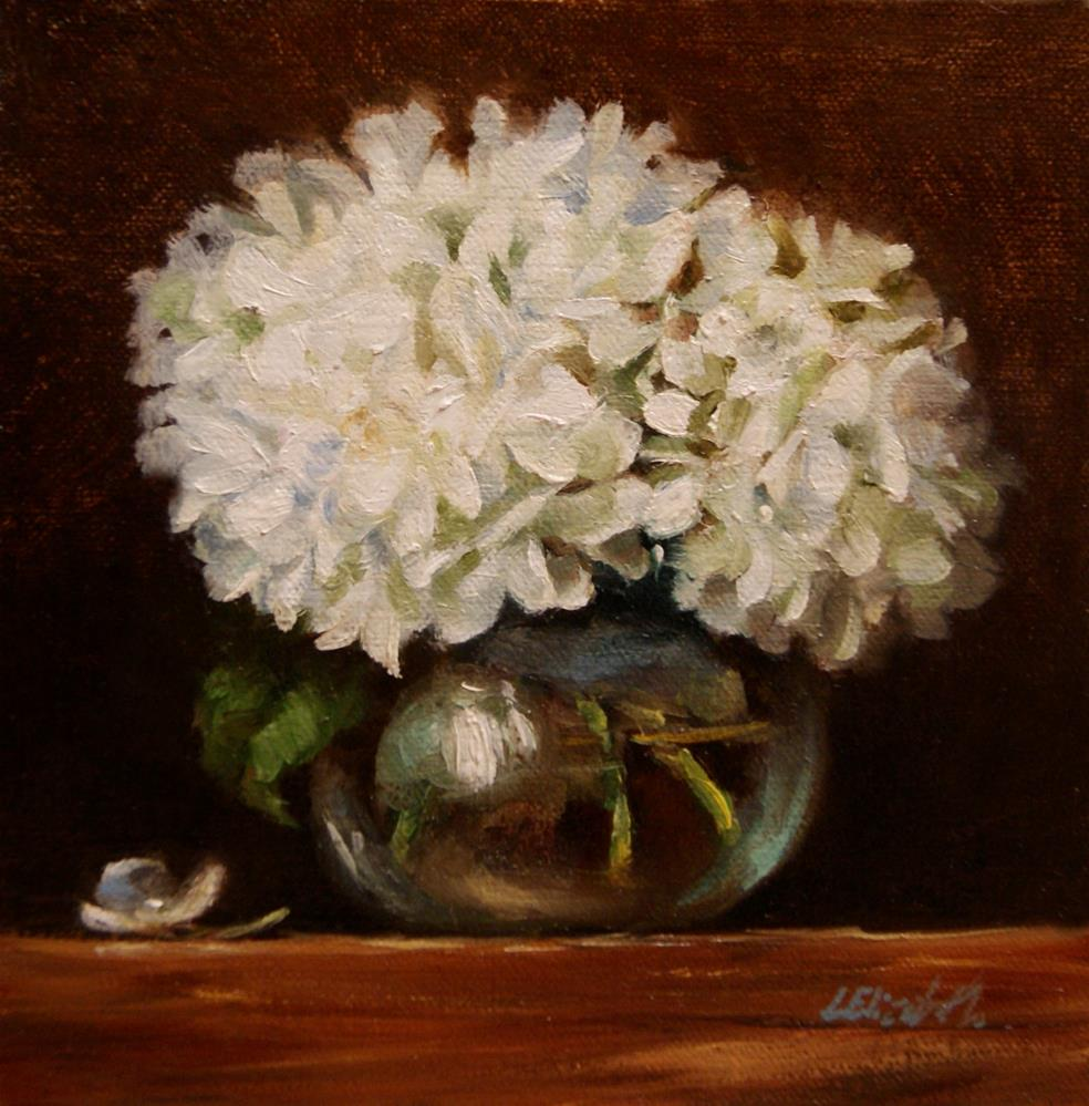 """White Hydrangeas in Glass Vase, 6x6 Oil on linen Panel"" original fine art by Carolina Elizabeth"