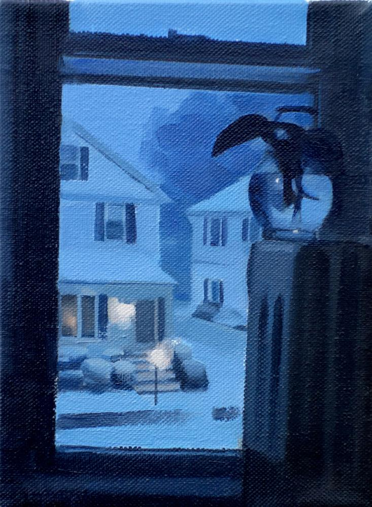 """Snowy Night in Newton, MA (no.116)"" original fine art by Michael William"