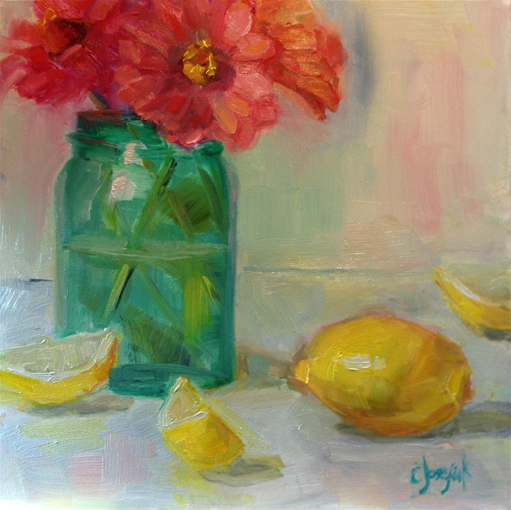 """Lemons and zinnias"" original fine art by Carol Josefiak"