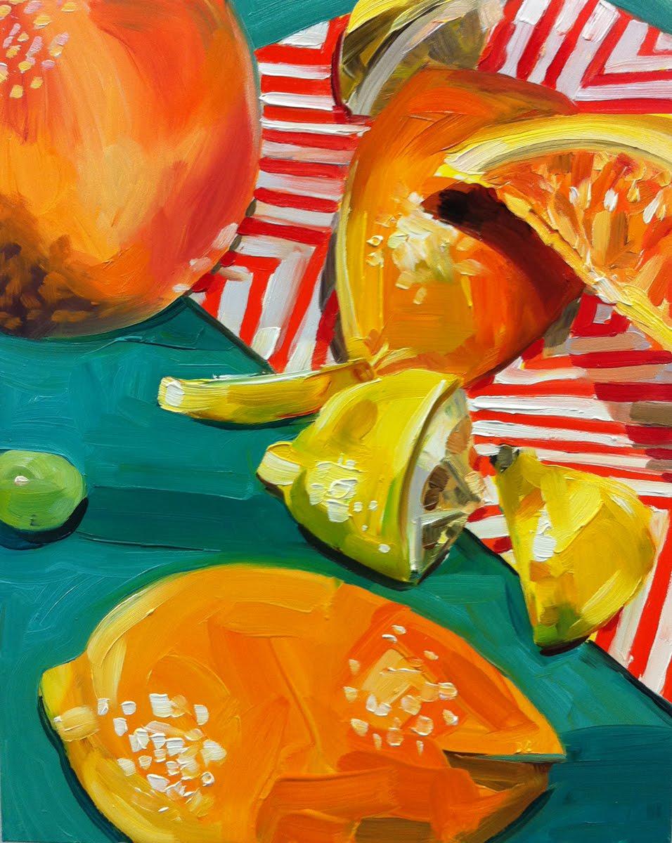 """Red Striped Napkin"" original fine art by Katy O'Connor"