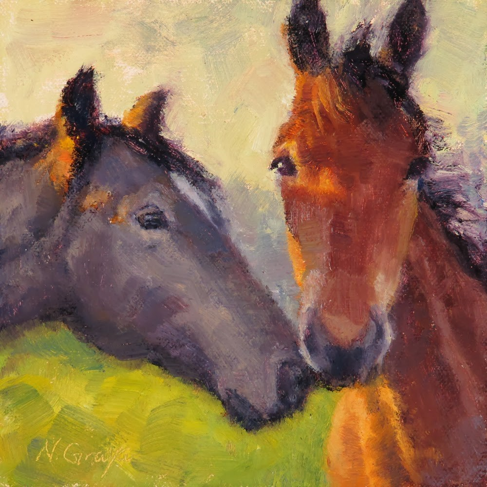 """Tomodachi - Two Horses"" original fine art by Naomi Gray"