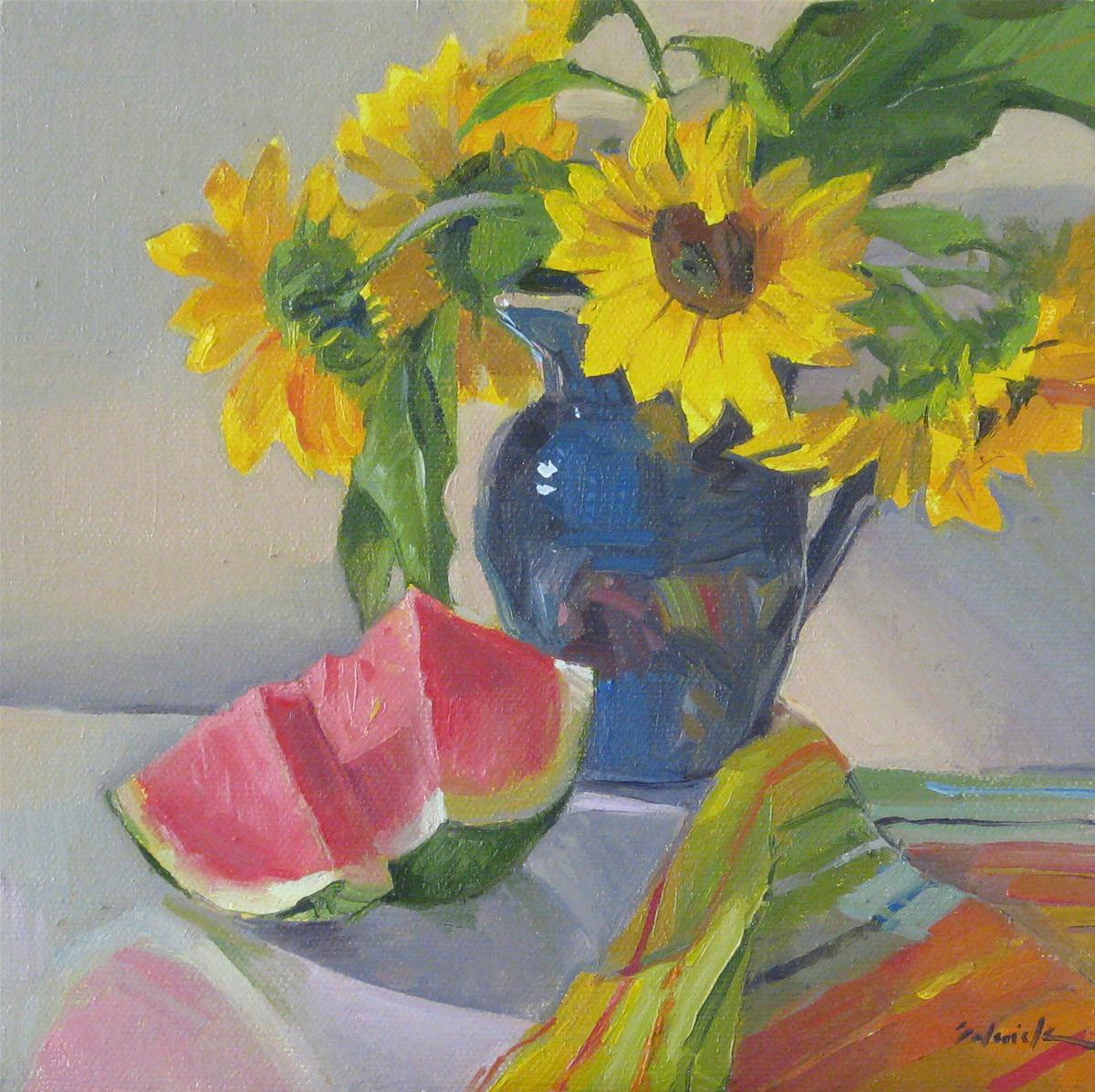 """Sunflowers and Watermelon"" original fine art by Sarah Sedwick"