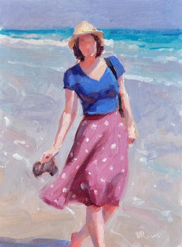 """Walking along a beach"" original fine art by Lena  Rivo"