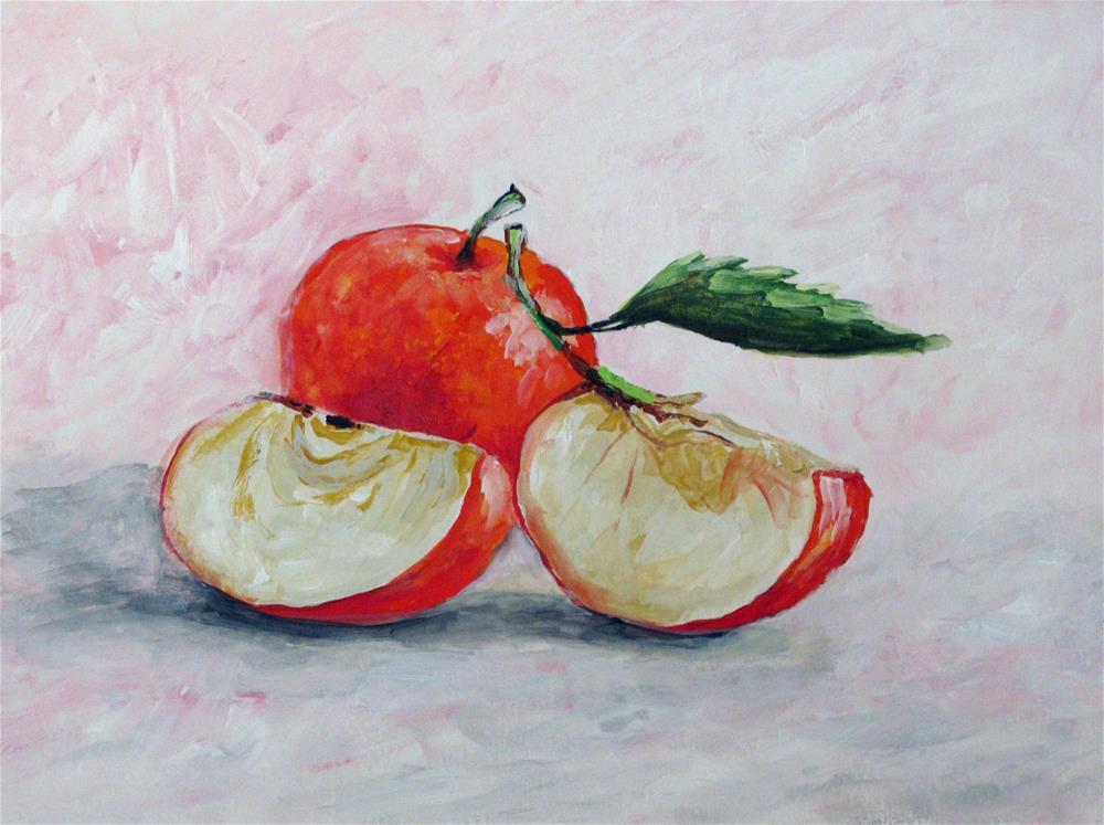 """Two Slices & a Leaf"" original fine art by Nan Johnson"