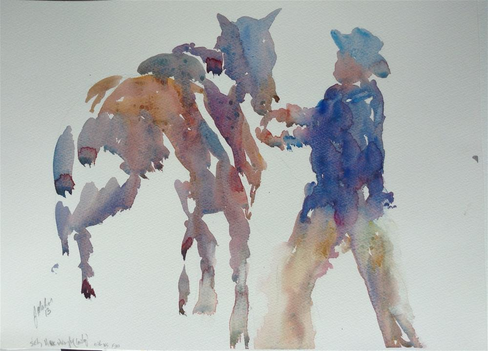 """A cowboy and his horse"" original fine art by Joseph  Mahon"