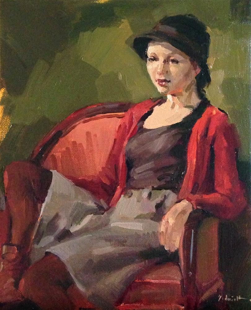 """The Cloche Hat original oil painting art portrait clothed model figure figurative"" original fine art by Sarah Sedwick"