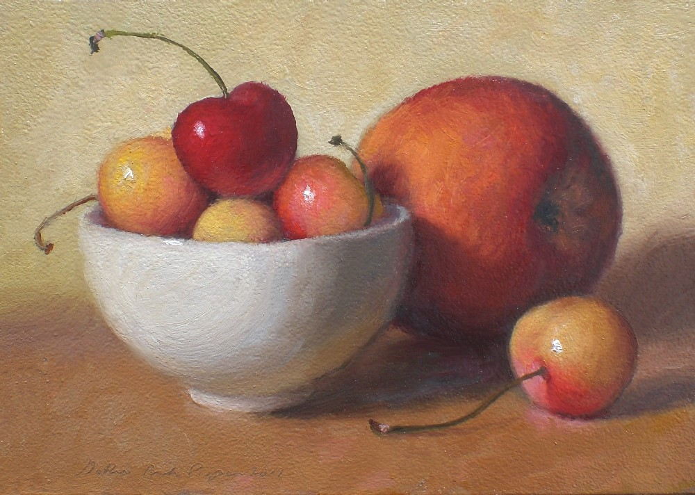 """Golden Cherries and Peach"" original fine art by Debra Becks Cooper"