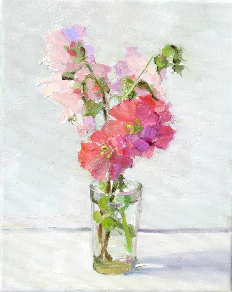 """More Hollyhocks,still life,oil on canvas,10x8,price$300"" original fine art by Joy Olney"