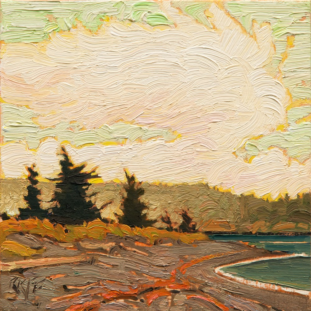 """On The Spit: 6x6 oil on panel"" original fine art by Ken Faulks"