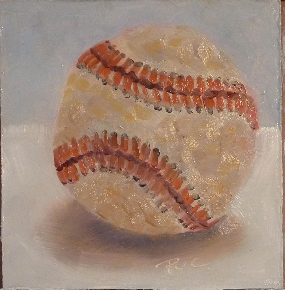 """Home Run 4x4"" original fine art by Mary Pyche"