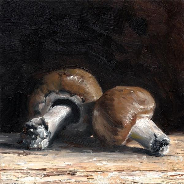 """Two Mushrooms"" original fine art by Peter J Sandford"