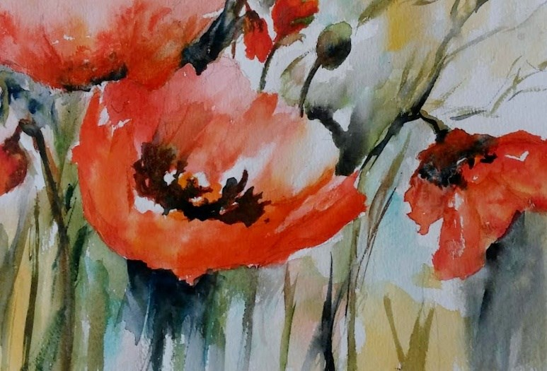 """Poppies"" original fine art by Cathy Dykstra"