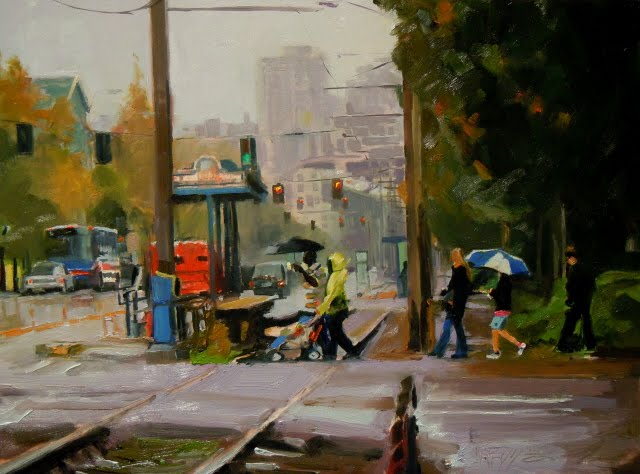 """Seattle Rain Parade Seattle cityscape, oil painting"" original fine art by Robin Weiss"