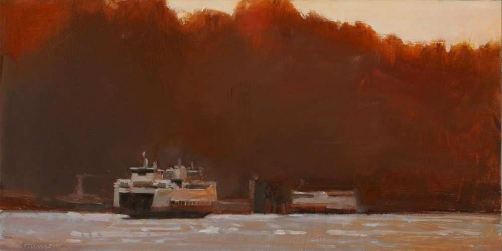 """Red Sunset North End Ferry"" original fine art by Gretchen Hancock"