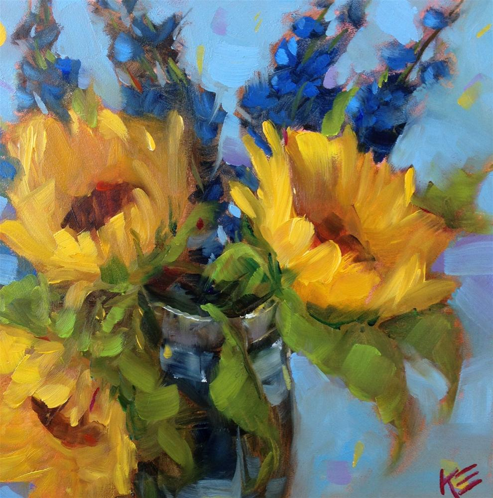 """Sunflowers & Delphiniums"" original fine art by Krista Eaton"