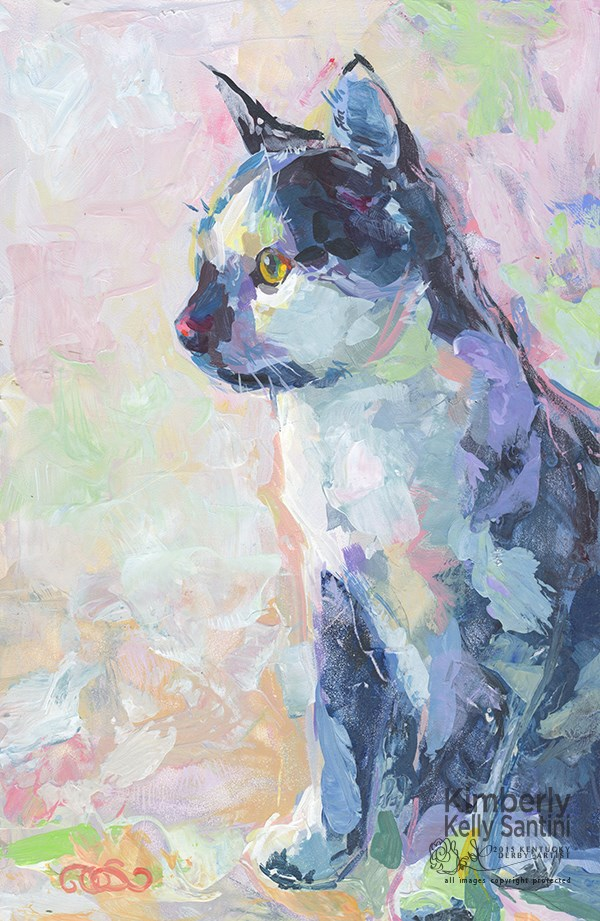 """Domino, Our Next pARTy Guest"" original fine art by Kimberly Santini"