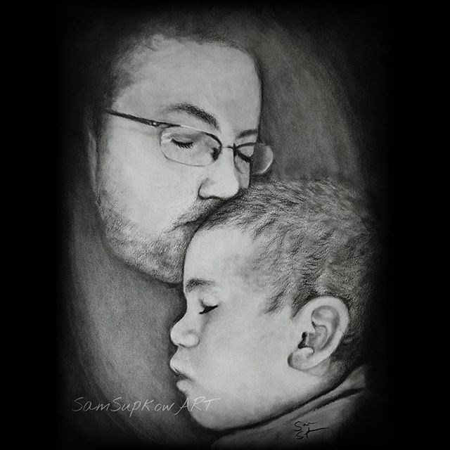 """Father and Son"" original fine art by Sam Supkow"