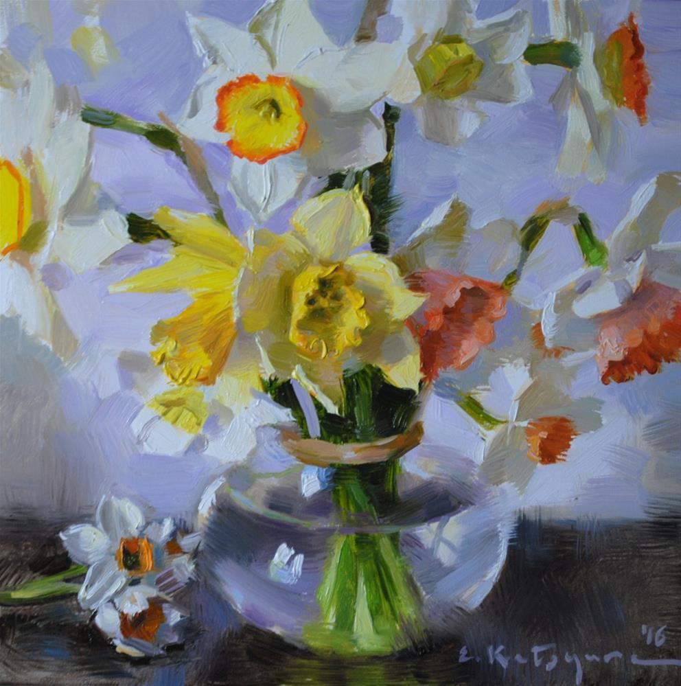 """Daffodils in Glass Vase"" original fine art by Elena Katsyura"