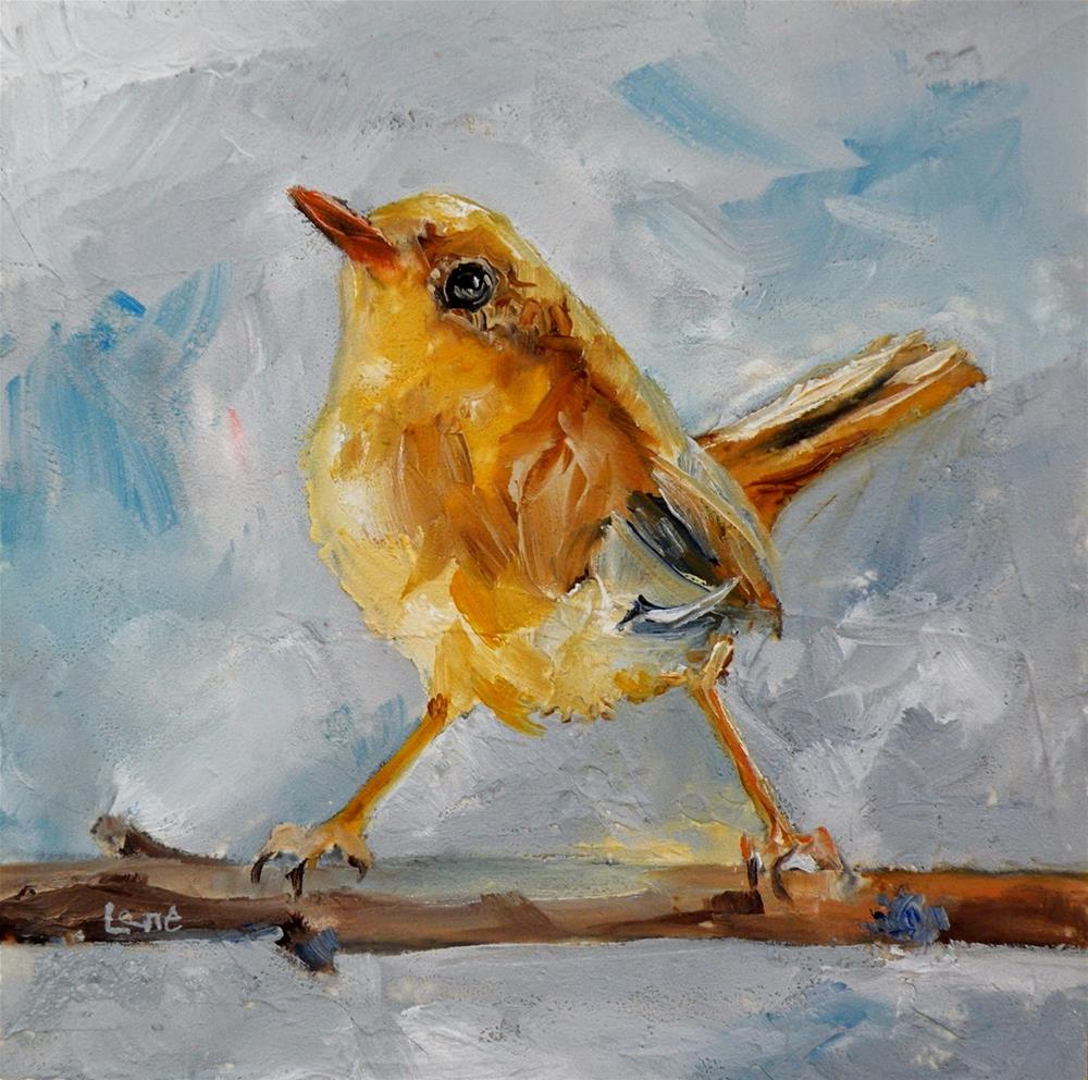 """WREN ORIGINAL 4X4 OIL ON TEXTURED PANEL © SAUNDRA LANE GALLOWAY"" original fine art by Saundra Lane Galloway"