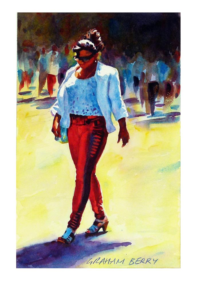 """Walking in the hot sun."" original fine art by Graham Berry"