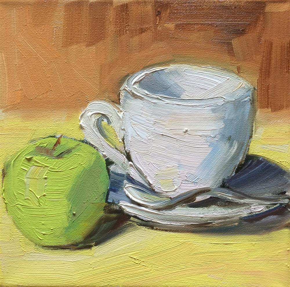 """Coffee Cup and Apple"" original fine art by Naomi Bautista"