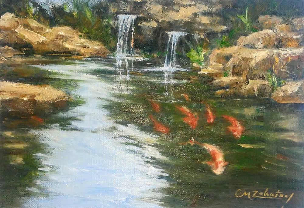 """""""Koi Falls"""" original fine art by Catherine Zakutney"""