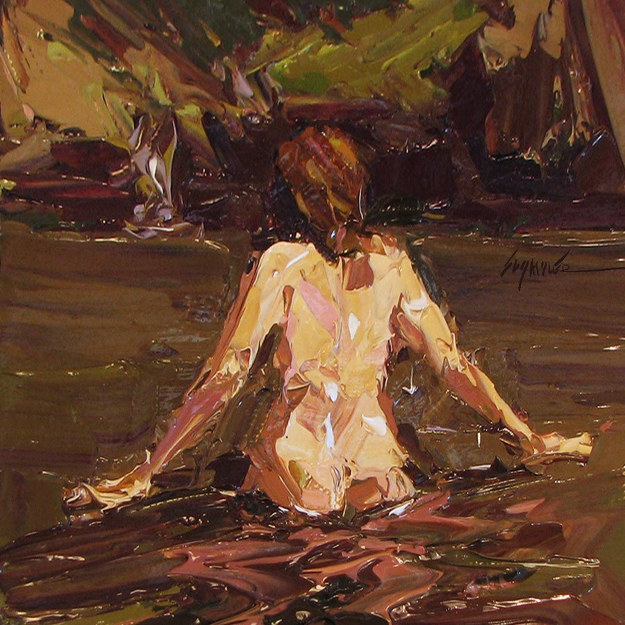 """Skinny Dipping by Sally Shisler"" original fine art by Sally Shisler"