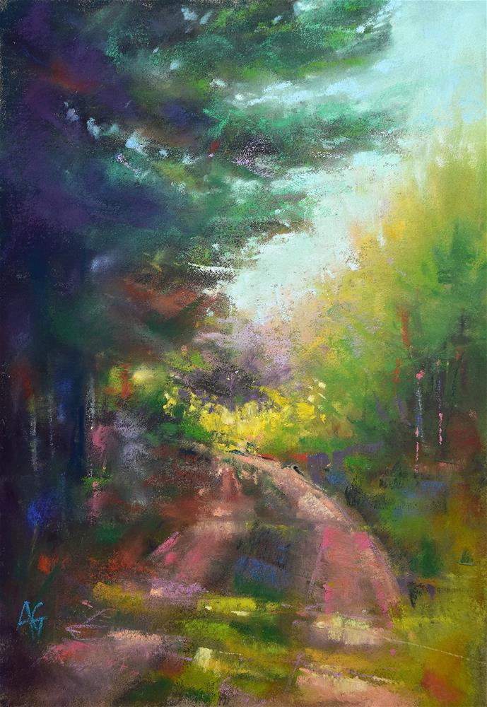 """Path in the forest 2"" original fine art by Alejandra Gos"