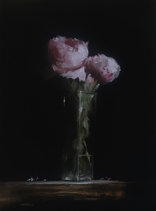 """Peonies in Glass"" original fine art by Neil Carroll"