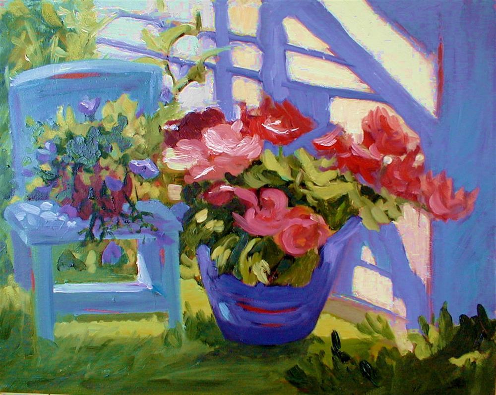 """""""Begonias and Blue Chair"""" original fine art by Carol Cochran"""