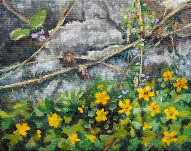 """""""Spring flowers on the old wall"""" original fine art by Hilary J. England"""