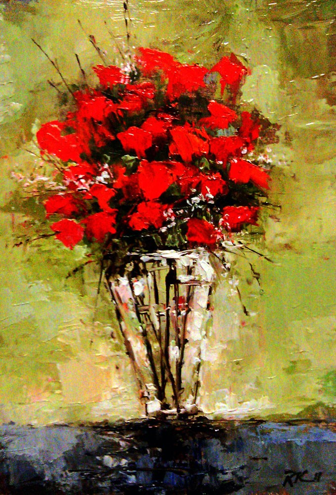 """Roses in a Glass Vase"" original fine art by Bob Kimball"