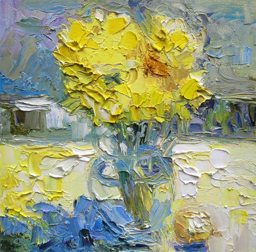 """Yellow Mums, Yellow Sheet"" original fine art by Carol Steinberg"