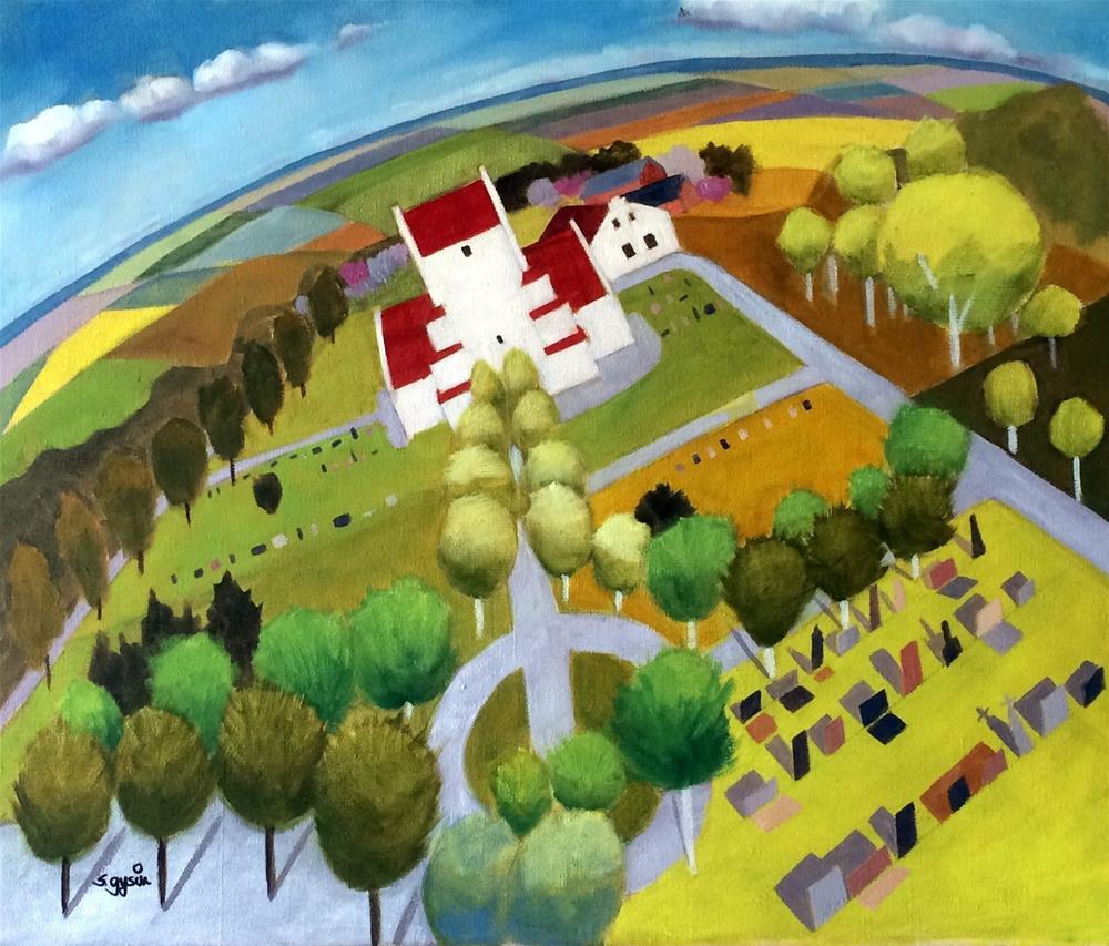 """""""Östra Hoby Kyrka"""" original fine art by Suzanne Gysin"""
