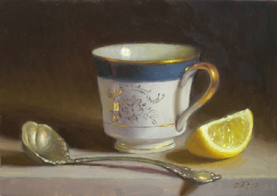 """Tea, Lemon and Silver Ladle"" original fine art by Debra Becks Cooper"