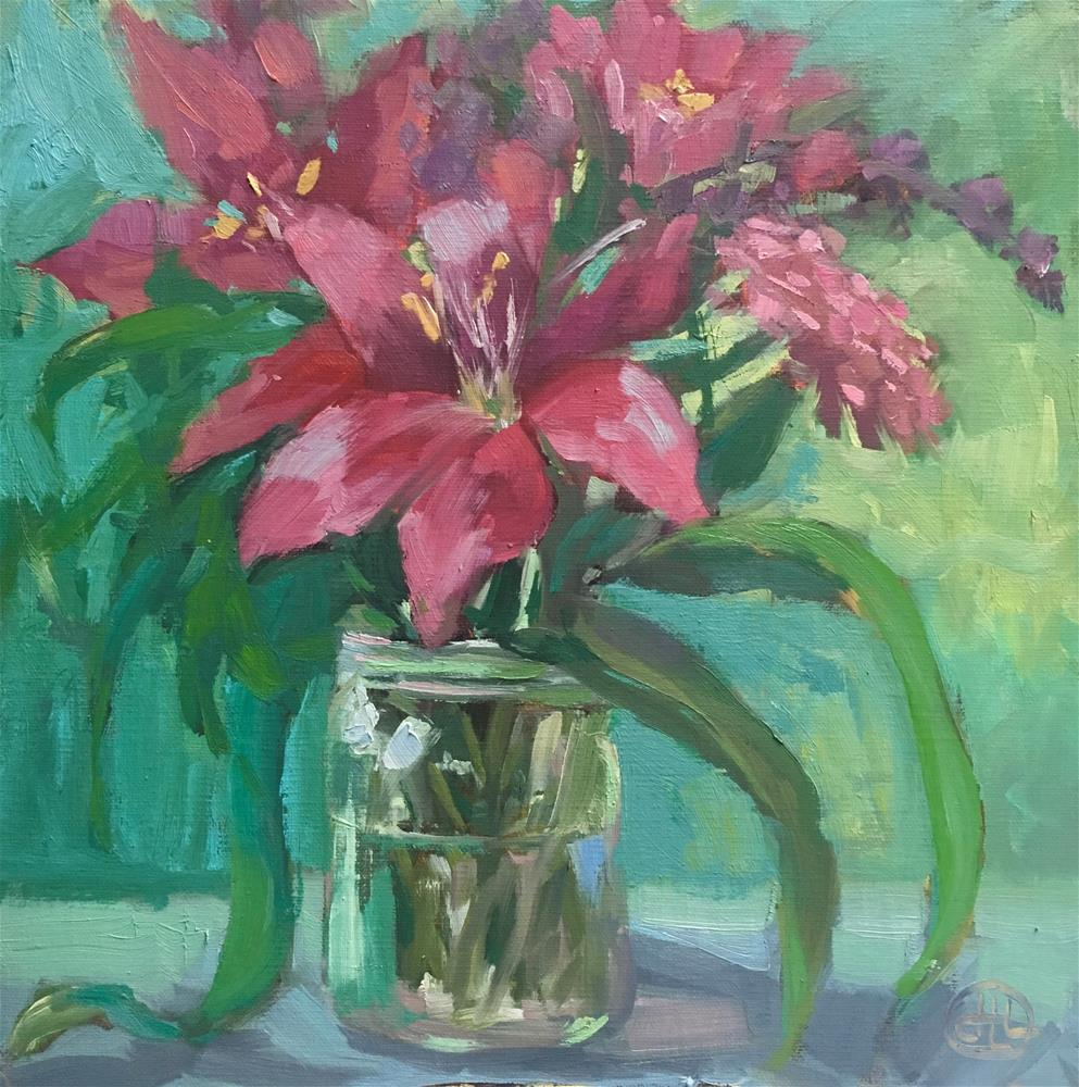 """mason jar bouquet"" original fine art by Dottie  T  Leatherwood"