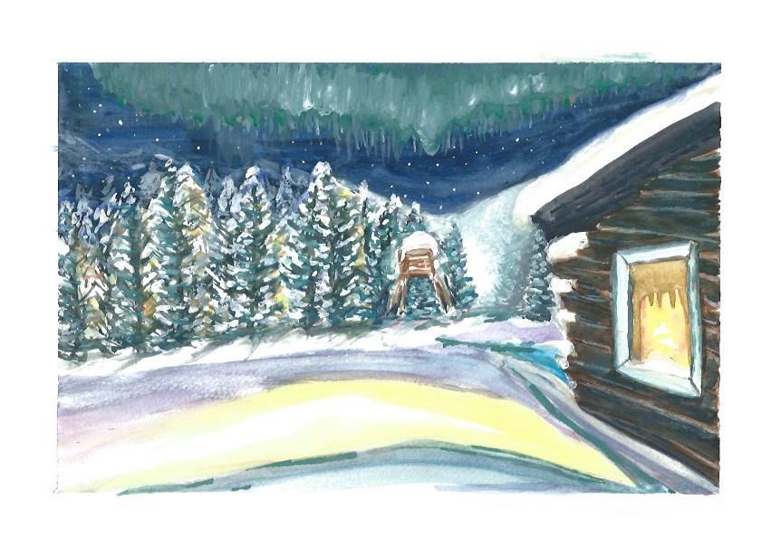 """Northern Lights 1"" original fine art by Laura Denning"