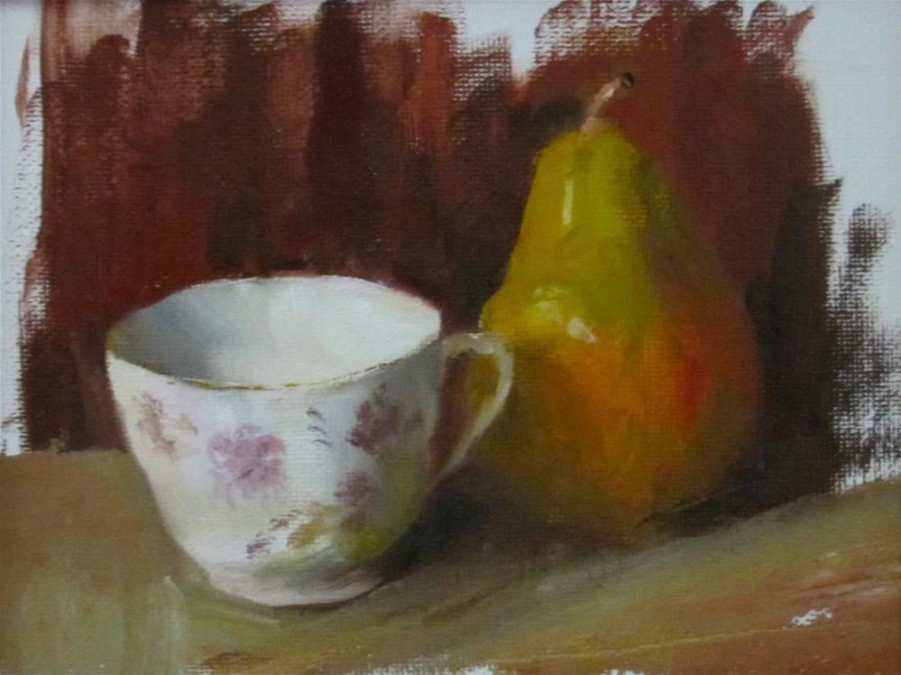 """Pear and Cup"" original fine art by Linda Carney"